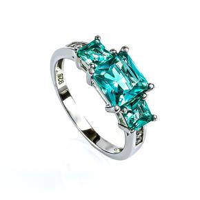 Sterling Silver 3 Stone Paraiba Ring