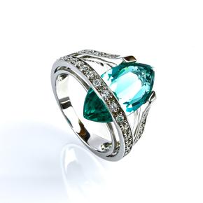 Mexican Marquise Cut Paraiba Silver Ring