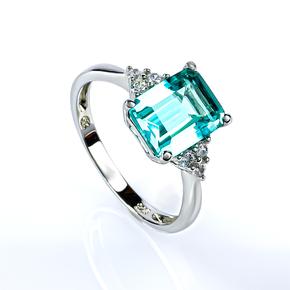 Emerald Cut Paraiba Silver Ring