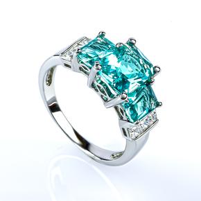 3 Stone Paraiba Sterling Silver Ring