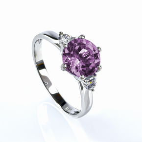 3 Stone Alexandrite Sterling Silver Engagement Ring