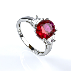 Oval Cut Red Ruby Silver Ring .925