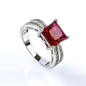 Ruby Silver Ring Princess Cut Stone