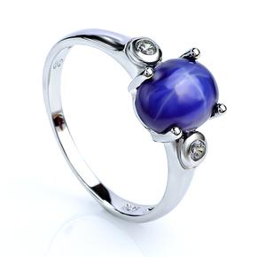 Fine Star Sapphire Silver Ring 925
