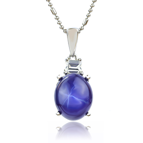 Star Sapphire Oval Cut Cabuchon Silver Pendant