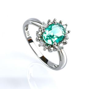 Oval Cut Paraiba Silver Ring