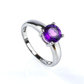 Amethyst Silver Solitaire Ring