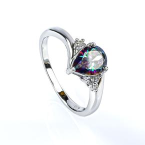 Mystic Topaz Pear Cut Silver Ring