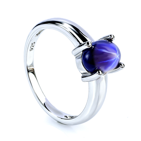 Solitaire Star Sapphire Silver Ring 925