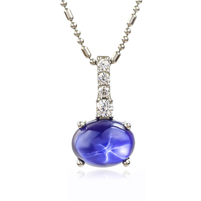 Star Sapphire Solitaire Pendant Sterling Silver