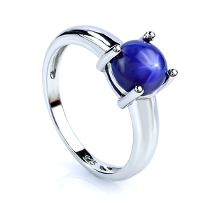 Solitaire Star Sapphire Round Cabuchon Silver Ring 925