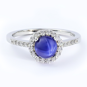 Star Sapphire Silver Solitaire Ring