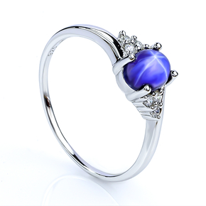 Solitaire Star Sapphire Silver Ring