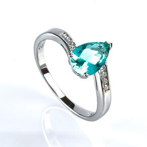 Paraiba Pear Cut Stone Silver Ring