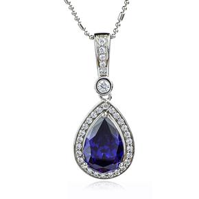 Silver Blue Pear Cut Tanzanite Pendant