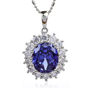 Blue Tanzanite Halo Silver Pendant