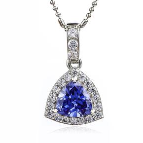Blue Tanzanite Trillion Cut Stone Pendant Silver