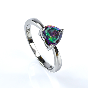 Heart Shape Mystic Topaz Sterling Silver Solitaire Ring