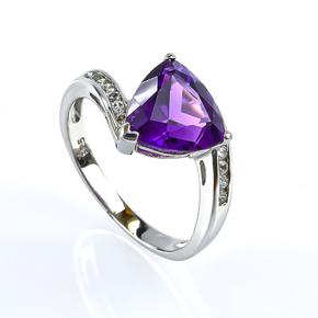 Silver Trillion Cut Amethyst Ring