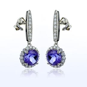 Round Cut Alexandrite Silver Drop Earrings