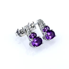 Two Oval Cut Amethyst Silver Earrings