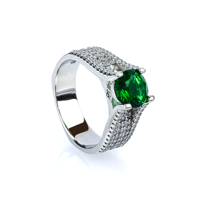 Micro Pave Emerald .925 Silver Ring