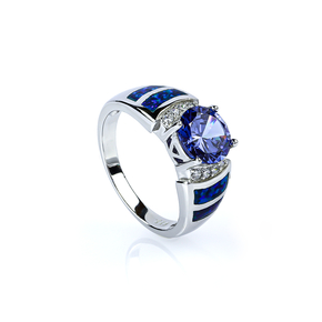 Blue Opal and Tanzanite Silver Ring