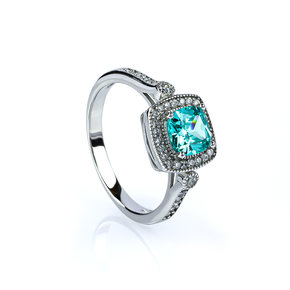 Sterling Silver 925 Paraiba Micropave Ring