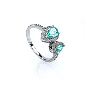 Two Stone Paraiba and Simulated Diamonds Ring