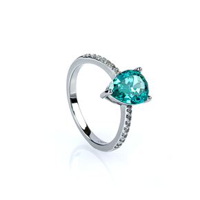 Solitaire Paraiba and Simulated Diamonds Ring
