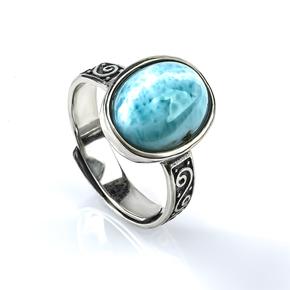 Larimar Genuine Stone Silver Ring