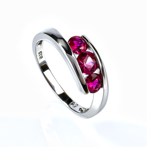 Sterling Silver Promise Ruby Ring
