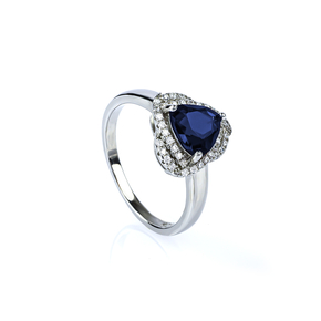 Trillion Cut Blue Sapphire Ring