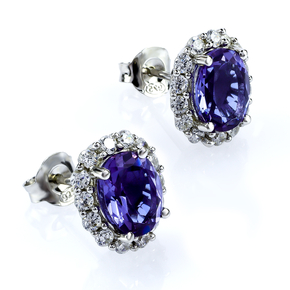 Oval Cut Alexandrite Sterling Silver Earrings Blue to Purple