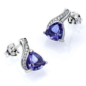 Trillion Cut Alexandrite Sterling Silver Earrings Blue to Purple Color Change