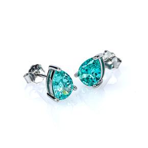 Paraiba Pear Cut Stud Silver Earrings