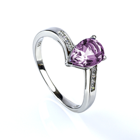 Alexandrite Blue to Purple Color Change Stone Silver Ring
