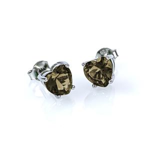Zultanite Heart Shape Stud Silver Earrings