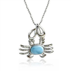 Genuine Larimar Stone Silver Crab Pendant
