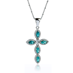 Sterling Silver Cross With Marquise Cut Paraiba