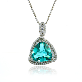 Paraiba Stone Pendant In Sterling Silver