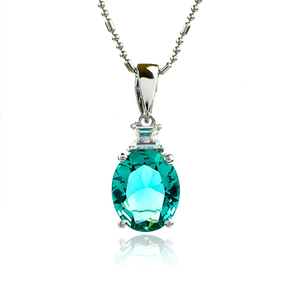 Oval-Cut Silver Pendant with Paraiba