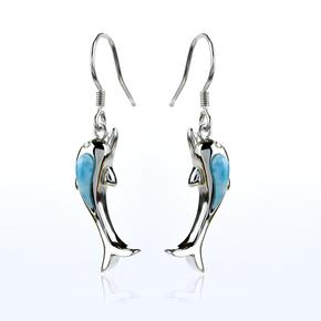 Genuine Larimar Stone Silver Dolphin Earrings