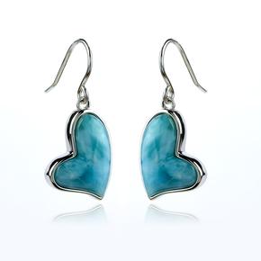 Genuine Larimar Stone Silver Heart Earrings