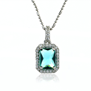 Emerald Cut Paraiba Sterling Silver Pendant