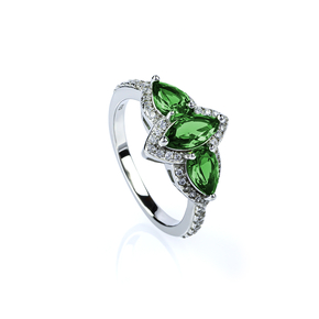Emerald Ring Marquise Cut Stone Ring