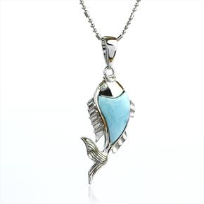 Genuine Larimar Stone Silver Marlin Pendant