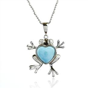 Genuine Larimar Stone Silver Frog Pendant