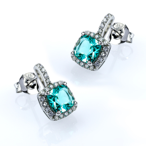 Princess Cut Paraiba Sterling Silver Earrings