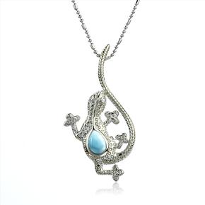 Genuine Larimar Stone Silver Lizard Pendant